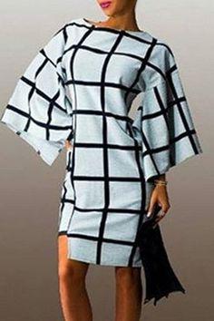 Fashionable Boat Collar Plaid Print Batwing Sleeve Midi Dress For Women