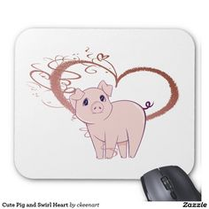 Cute Pig and Swirl Heart Mouse Pad