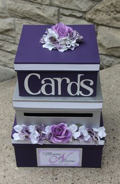 Wedding Card Box 3 Tier Card Holder Square Purple by aSignofJoy                                                                                                                                                                                 More