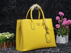 Prada Saffiano Cuir leather tote POLLEN YELLOW,Prada bags 2014