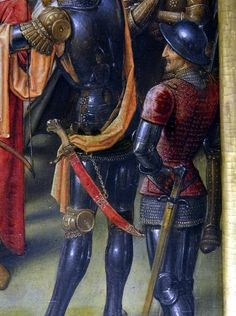 "Soldiers from Shrine of St. Ursula by Hans Memling, ca. 1489. Taken from the 6th panel, ""Martyrdom of St. Ursula""."