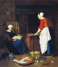 A Kitchen Maid Cleaning Fish and an Old Woman Asleep - Gabriël Metsu. x 33 cm. The Wallace Collection, London, UK. Gabriel Metsu, Kitchen Maid, Dutch Golden Age, 17th Century Art, Dutch Painters, Impressionist Art, Oil Painting Reproductions, Museum, Art Uk