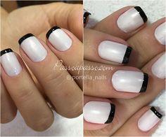 unhas com ponta branca Classy Nails, Cute Nails, Classy Nail Designs, Nail Polish Colors, Mani Pedi, Swag Nails, Nail Art, Glitter, Manicures