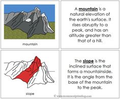 Mountain Nomenclature Book (Red) - Describes 6 Parts of the Mountain.