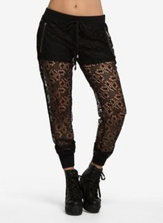 Lace Drawstring Jogger Pants   Lounge