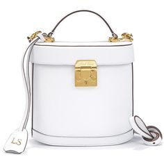 Mark Cross Monogrammable Benchley Shoulder Bag in White Saffiano... ($2,545) ❤ liked on Polyvore featuring bags, handbags, shoulder bags, shoulder strap bag, mark cross, saffiano leather handbag, long shoulder strap handbags and over the shoulder bag