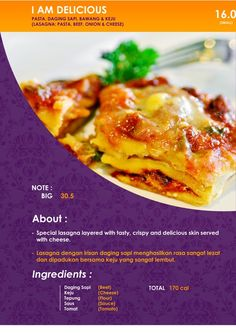 Lasagna with melted cheese on top :)