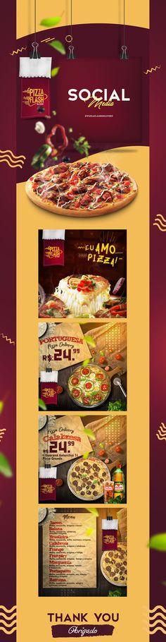 Social Media - Pizza Flash on Behance Social Media Ad, Social Media Template, Social Media Design, Social Media Graphics, Email Design, Ad Design, Graphic Design Inspiration, Food Inspiration, Focus Logo