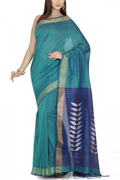 Teal & Royal Blue Dhakai Cotton Silk Jamdani Saree