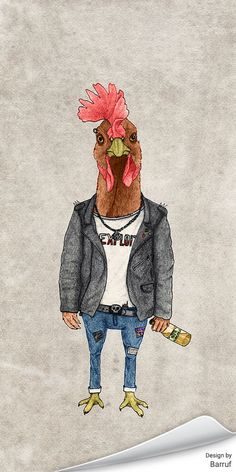 """""""Punk Rooster"""" by artist Barruf"""