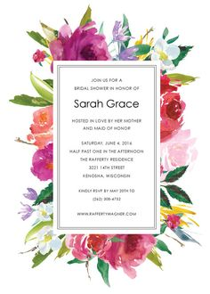 These floral bridal shower invitation features vibrant watercolor blooms in red, purple, pink and orange. This invitation can be set up for a bridal luncheon, rehearsal dinner or a save the date as well. This listing is for a digital or printed invitation. WHATS INCLUDED A digital set includes: 1) your choice of a high resolution PDF or JPG will be emailed to you when proofs are complete 2) two proofs are included 3) a digital file is sent to you so that you can print these locally or…