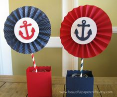 2 6 Nautical Rosettes Centerpieces Paper by BeautifulPaperCrafts Baby Shower Marinero, Nautical Centerpiece, Summer Centerpieces, Sailor Birthday, Birthday Diy, Sailor Theme, Paper Rosettes, Baby Shower Desserts, Nautical Party