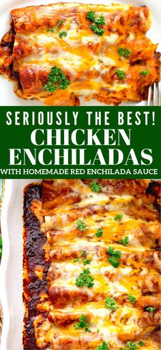 layer of these delicious Chicken Enchiladas with Homemade Red Enchilada Sauce is packed with flavor!Every layer of these delicious Chicken Enchiladas with Homemade Red Enchilada Sauce is packed with flavor! Casserole Enchilada, Sauce Enchilada, Casserole Recipes, Homemade Enchilada Sauce, Pudding Recipes, Red Enchiladas, Easy Chicken Enchiladas, Chicken Enchilada Recipes, Recipes With Red Enchilada Sauce