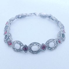 Vintage Silver Tone Red Rhinestone and Marcasite Bracelet by BorrowedTimes on Etsy