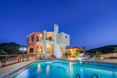 Skenare Villas in Stalos, Agia Marina Area, Chania Crete.Skenare villas are built on a hill at Pano Stalos at Chania Crete Greece, with a panoramic view of Chania gulf. It is constructed under high standards and it is dominated by the strong