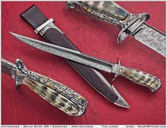 """The Judge (Bowie) Blade Steel: Twisted Mosaic of 1084/15n20 w/ convex/hollow grinds Blade Length: 12 3/4"""" oal: 18 1/2""""  Frame: One piece of 1018 steel contoured, drilled and hollowed Scales: Ancient Walrus Sheath: Fiber glass w/leather liner and cover, 1018 throat and tip"""