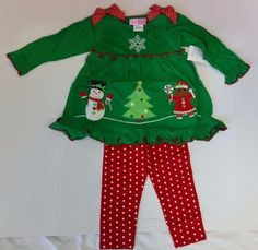 Girls Christmas Outfit Sophie Rose 2 Pc Dress Leggings Red Green 2T 3T NWT #SophieRose #DressyEverydayHoliday