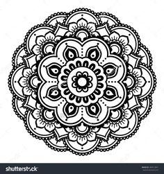 Indian Henna Tattoo Pattern Or Background - Mehndi Design Стоковая векторная иллюстрация 284512841 : Shutterstock