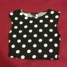 Cute polka dot crop top Worn once. Like new. Open to offers Forever 21 Tops Crop Tops