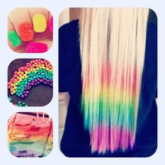 Colorful Things Pretty Hairstyles Dip Dyed Dye Hair Rainbow