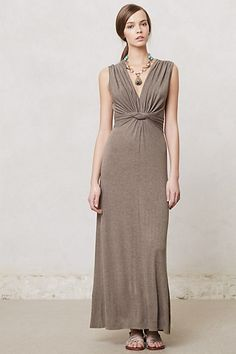 French Quarter Maxi Dress #anthropologie Very flattering for the curvy girl! Like the tie in the back, the supportive shoulder straps, and the color, which allows you to show off accessories.