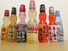 We sample curry, octopus, kimchi, chili pepper, salted watermelon, and corn flavored Ramune sodas