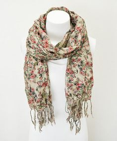 Love this Red & Green Vintage Floral Scarf by Leto Collection on #zulily! #zulilyfinds