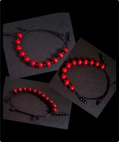 Black waxed cotton thread with with round wooden beads that are red with a black line pattern. Adjustable slip knot fastening