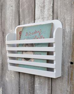 Rustic Hanging Wooden Magazine File Holder Solid White Vintage Design Storage Organizer Book Rack Menu Holder Wall Mounted on Etsy, $45.00