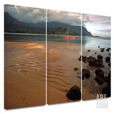 Hanalei Bay at Dawn 3 piece gallery-wrapped canvas Canvas Art Set by Kathy Yates at Art.com