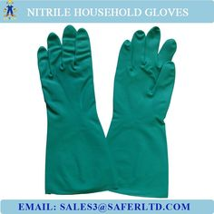 """""""Green checmical resistant nitrile household gloves, household hand gloves"""""""