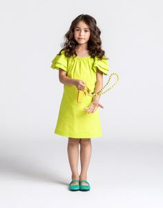 Lanvin gorgeous flouro yellow ruffled dress for kids spring 2013