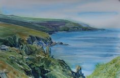 Original seascape painting, watercolour of Cornwall, painting of cliffs and…