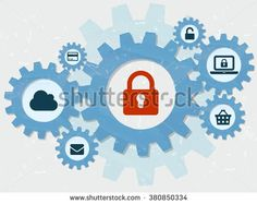 padlock and internet signs in grunge flat design gear wheels infographic, technical security concept symbols