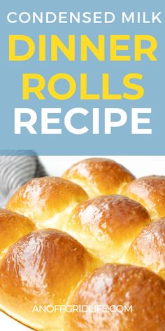 This condensed milk dinner rolls recipe makes a mouth-watering batch of sweet fluffy rolls - perfect with stews, chilis and soup recipes too! #homemade #dinner #bread #breadrecipessweet #homesteading #anoffgridlife Beginner Baking Recipes, Cooking For Beginners, Cooking Recipes, Whole Food Recipes, Soup Recipes, Delicious Recipes, Yummy Food, Dinner Bread, Sugar Free Baking