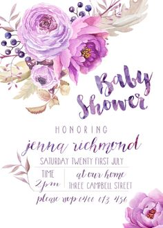 **Baby Shower Invitation & Book Request Note Set* || PERSONALISED PRINTABLE || JPEG DIGITAL FILE SENT VIA EMAIL ||  W A T E R C O L O U R F L O R A L B A B Y S H O W E R Purple with White Background Floral Design {see other listings for chalkboard design}  - 5 x 7 Sized Invitation - 3 x 3 Sized Book Request Note - 300dpi Printable - Print It Yourself - Personalised with mother-to-bes name and shower details - Modern & clean invitation  || PERSONALISATION DETAILS || Please add your det...