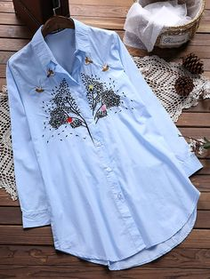 Vintage Lapel Embroidery Button Blouse For Women can cover your body well, make you more sexy, Newchic offer cheap plus size fashion tops for women. Dress Indian Style, Salwar Designs, Elegant Outfit, Plus Size Blouses, Western Wear, Cute Tops, Chic Outfits, Latest Fashion Trends, Blouses For Women