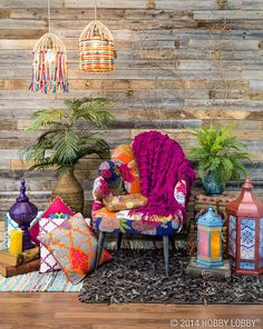 Design a modern Moroccan-inspired room with a mix of exuberant colors and patterns.