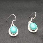 Artist-Crafted Sterling Silver & Oval Blue Turquoise Earrings