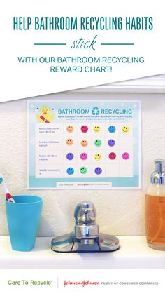 Get your kids involved in bathroom recycling with this fun downloadable sticker chart! Add stickers every time your child spots a recyclable item in the bathroom, reminds a family member to recycle in the bathroom, or remembers to empty the recycle bin. With our kids helping us every step of the way, recycling in the bathroom is a fun-filled family affair! #CARETORECYCLE