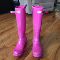 """Hunter """"Original Tall"""" Hot Pink Boots SZ 7 AUTH Hunter Rain boots in adorable hot pink only worn a handful of times. Still in great condition. Love the color. I will be sad to let it go. Price is firm due to the fee.              Sale less on Ⓜ️. No  TRADE.   Come from pet and smoke free home. Size 7 Thank you for looking Hunter Boots Shoes Winter & Rain Boots"""