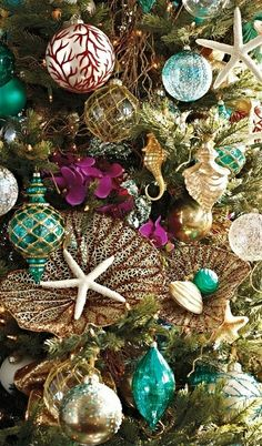 60 pc Coastal Cool Ornament Collection The calming hues