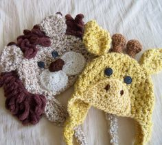 Lion and Giraffe Hat Pair - Boys Hat - Baby Hat - Safari Collection - Twin Set - Photo Prop Hat Duo - by JoJosBootique. $52.00, via Etsy.