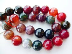 Agate. Berry coloured faceted agate beads - these so look like sweeties. Anyone remember Rowntree's fruit gums?? #beads #gemstones #agate