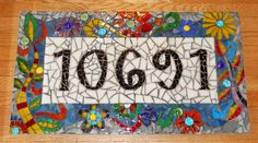Mosaic Address Sign,Dr Suess inspired recycled mdf, glass, glass globs