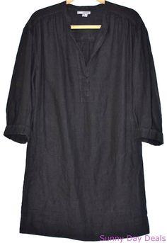 Vince Dress Linen Shift Tunic 3/4 Sleeve Black V Neck Pockets Versatile Solid M #Vince #Shift #Versatile