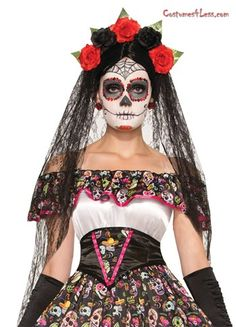 A very exotic black veil headband that is the perfect accessory to any ladies, Day of the Dead costume. Long black veil on sides and back attached to a headpiece containing 5 roses (3 of which are red and 2 are black) and green leaf behind each rose.