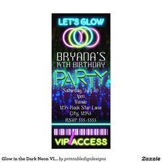 Glow in the Dark Neon VIP Birthday Party Ticket Card