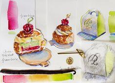 Beautiful watercolour paintings by Carol Gillott from Paris Breakfast