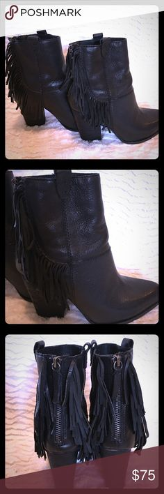 joe jeans black leather fringe booties Black leather stacked heel boogie with fringe detail and back zip. Size 7.5. Item fits true to size and is very comfortable. joes jeans Shoes Ankle Boots & Booties